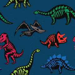 Adorable seamless pattern with funny dinosaur skeletons in cartoon style