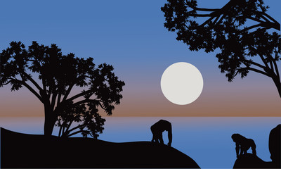 Illustration of gorilla silhouette with moon