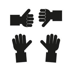 Hands Set in black color over white  backdrop