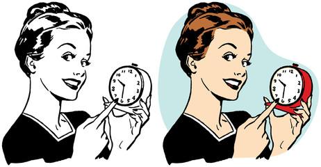 Woman pointing at clock