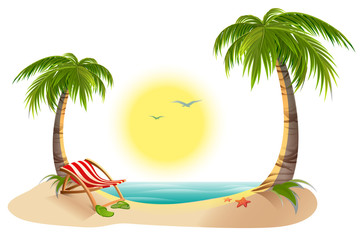 Beach chaise longue under palm tree. Summer vacation in tropics