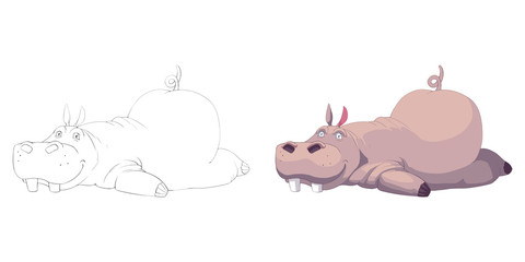 Creative Illustration and Innovative Art: Animal Set: The Sketch Line Art and Coloring Book: Exhausted Hippo. Realistic Fantastic Cartoon Style Artwork Scene, Wallpaper, Story Background, Card Design
