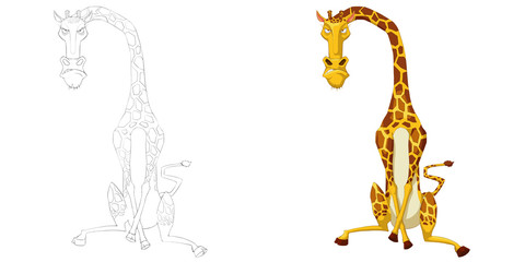 Creative Illustration and Innovative Art: Animal Set: The Sketch Line Art and Coloring Book: Angry Giraffe. Realistic Fantastic Cartoon Style Artwork Scene, Wallpaper, Story Background, Card Design