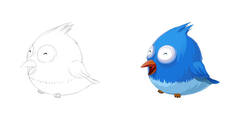 Creative Illustration and Innovative Art: Animal Set: Sketch Line Art and Coloring Book: Smiling Cute Fat Bird.Realistic Fantastic Cartoon Style Artwork Scene, Wallpaper, Story Background, Card Design