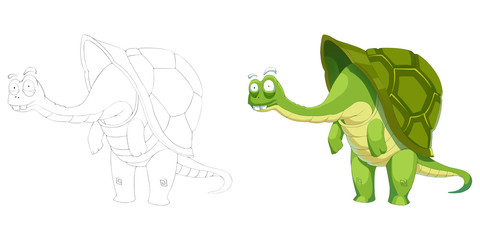 Creative Illustration and Innovative Art: Animal Set: Sketch Line Art and Coloring Book: Turtle Grandpa. Realistic Fantastic Cartoon Style Artwork Scene, Wallpaper, Story Background, Card Design