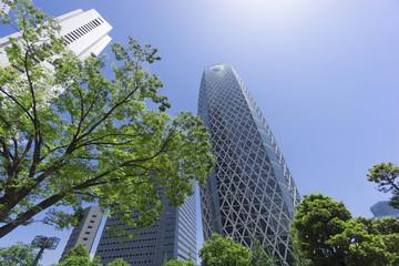 新宿高層ビル街 快晴 青空 緑 コクーンタワー前 降り注ぐ太陽