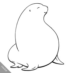 funny cartoon cute fat Navy seal vector illustration