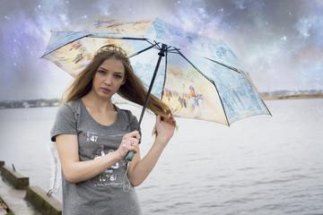 Woman with umbrella,rainy day