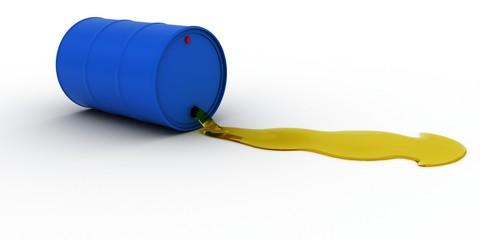 Blue Oil Barrel Leaking Golden Oil 3D Illustration