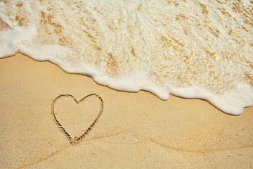 Love Concept, heart on sea sand