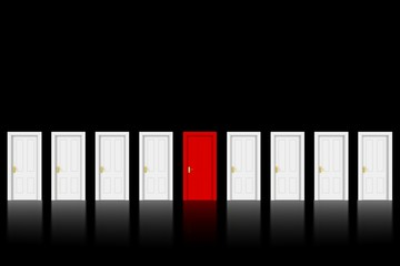 Red Door in Row of White Doors on Black Background with space for text - 3D Illustration