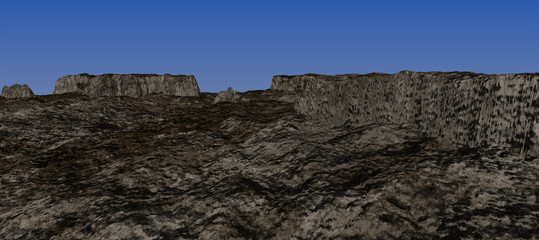 views of the many rocky plateau with the blue sky. Daytime