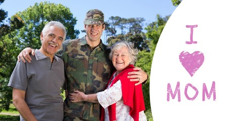 Composite image of portrait of army man with parents