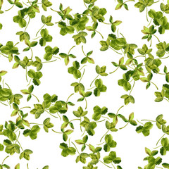 seamless pattern with watercolor drawing trefoil leaves
