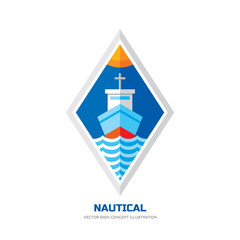 Nautical ship vector logo concept illustration in flat style design. Marine transport vector sign illustration. Ocean ship logo badge. Sea ship logo. Ocean liner silhouette and sea waves in rhombus.