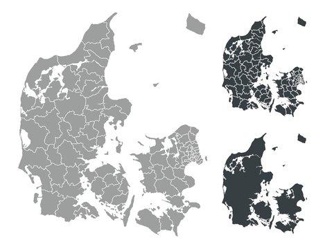 Detalied Denmark map