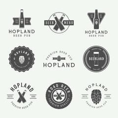 Set of vintage beer and pub logos, labels and emblems