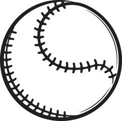 Baseball black and white vector icon for your design