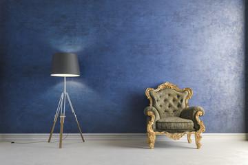 3d vintage arm chair interior render
