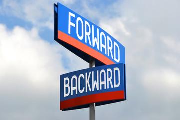 Forward and backward street sign