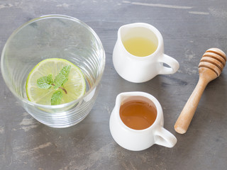 Cup of honey lime healthy drink