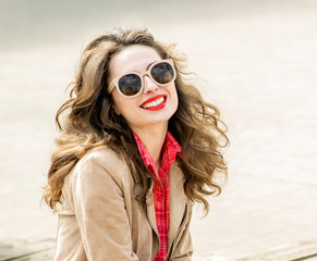Fashion portrait stylish pretty woman in sunglasses outdoor. You