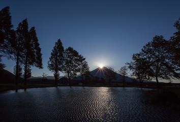 Fuji Diamond , Sunrise at Top of Mountain Fuji in autumn season