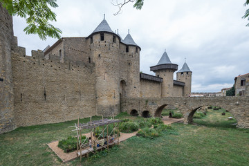Entrance of famous medieval castle of Carcassonne, France.