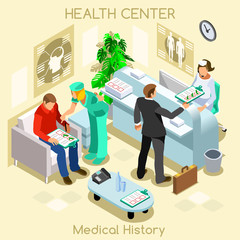 Clinic patient medical history waiting room before medical visit. Hospital clinic reception patients waiting medical consult. Healthcare 3D flat isometric people collection.