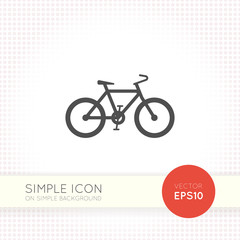 Bicycle icon on simple background