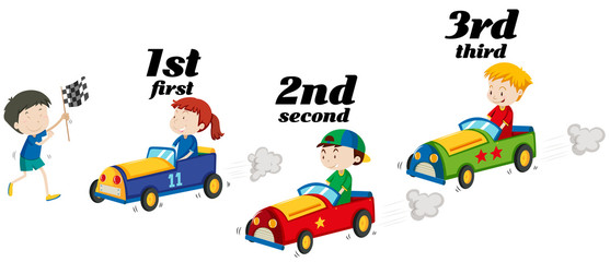 Kids riding racing car in a race