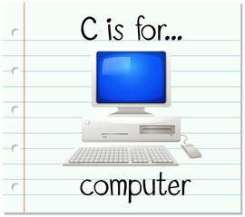 Flashcard letter C is for computer