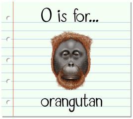 Flashcard letter O is for orangutan
