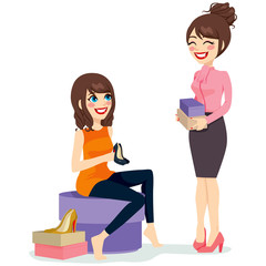 Beautiful brunette woman choosing a pair of black fashionable high heels shoes with assistance from sales clerk