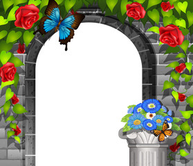Scene with brickwall and roses