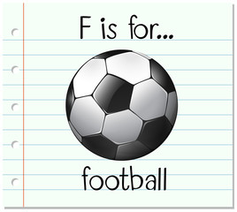 Flashcard letter F is for football