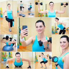 collage of woman doing different exercises in gym