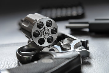.357 Caliber Revolver Pistol, Revolver open ready to put bullets