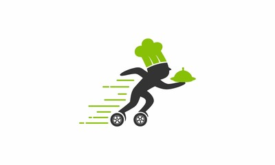 food delivery roller skates chef icon logo