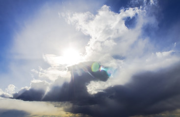 Clouds and sky on a sunny day. Nature, background, wallpaper abstraction.