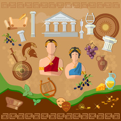 Ancient Greece Ancient Rome tradition and culture vector