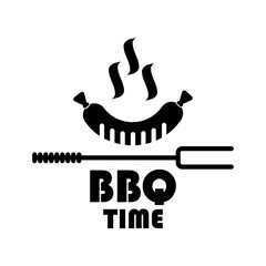 bbq time badge and label fork