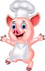 Pig chef cartoon
