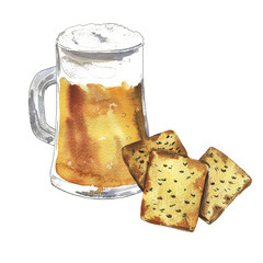 Mug of beer and salty crackers drawn by watercolor and ink. hand drawn illustration.