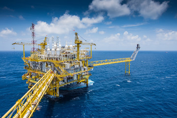 Oil and Gas central processing platform at top view in the gulf of Thailang in strong wind and high wave