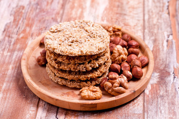 homemade oatmeal cookies with nuts and cocos