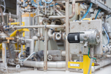 Gas Detector point type install near centrifugal gas compressor for detect gas leaking for safety.