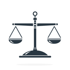 Balanced Scales of justice for law concepts. Vector illustration scales of justice internet flat icon.