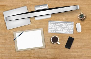 Top view of a retoucher workspace. Desktop computer on a wooden desk [3D illustration]
