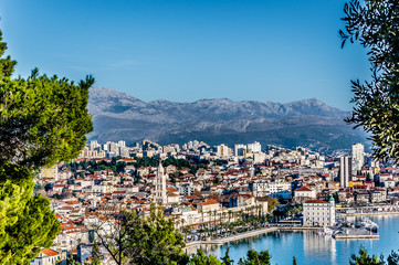 Split Croatia aerial cityscape. / View from Marjan hill at Split town during sunny warm day, Croatia Europe. Split is touristic place on Adriatic sea.